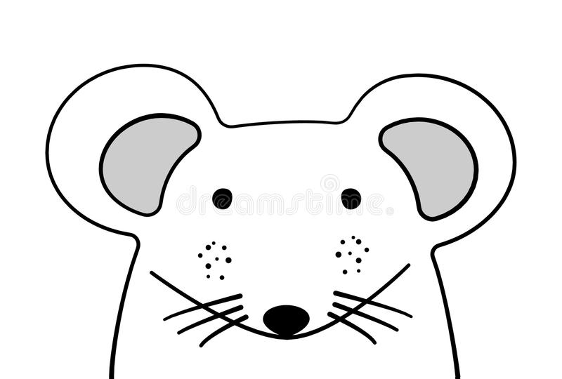 Doodle sketch Mouse illustration. Isolated cartoon vector. Mice. Wild mammal animal. White background. Postcard, poster, napkin vector illustration