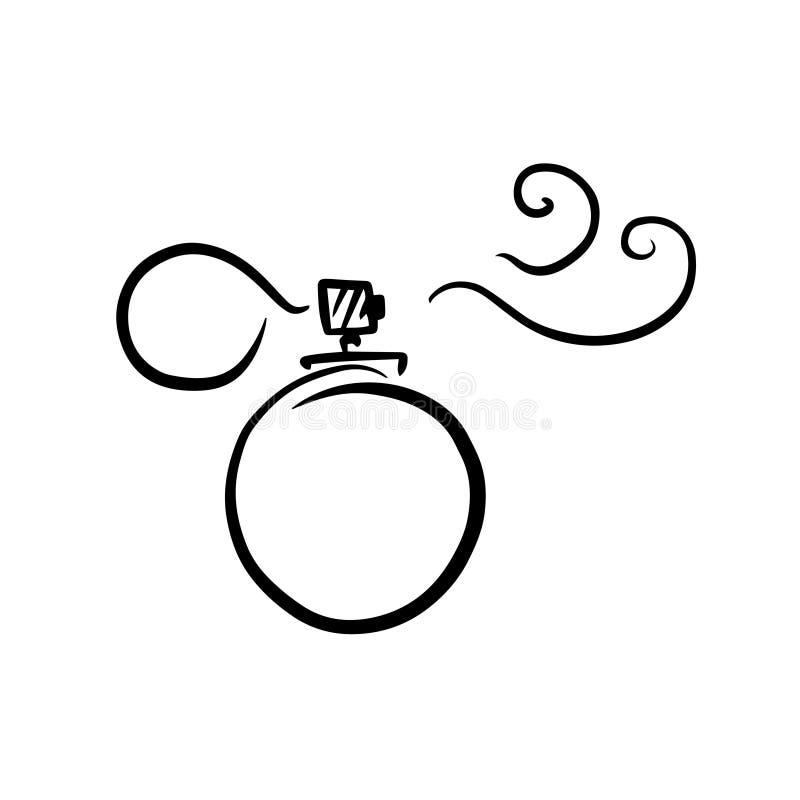 Doodle-Sketch Parfüm Flasche, Illustration Aroma-Flasche, Ikone stock abbildung