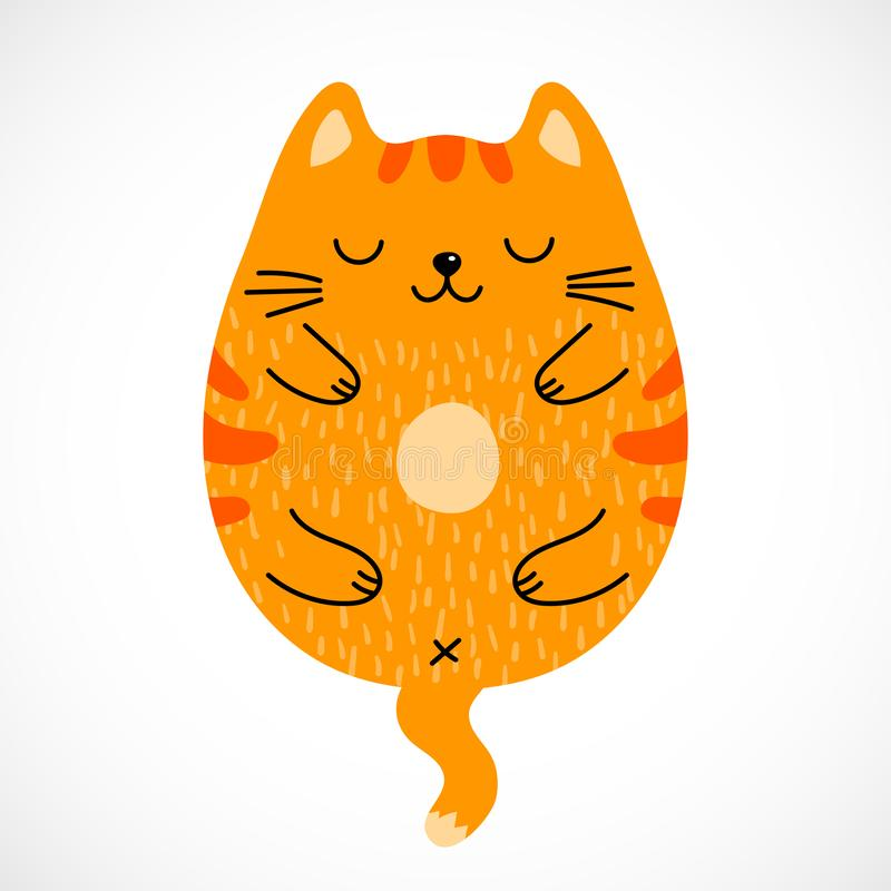 Doodle sleeping red cat stock illustration