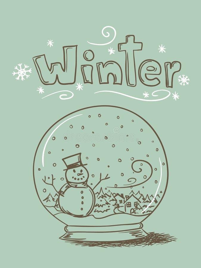 Doodle Snow Globe stock illustration
