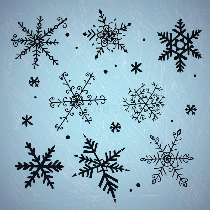 Free Doodle Snowflakes. Vector Background. Stock Images - 35209924