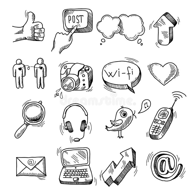 Doodle social icons set royalty free illustration