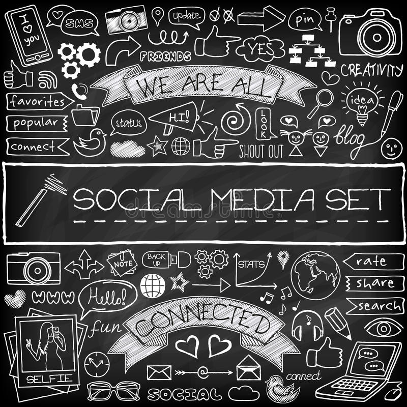 Doodle social media icons set with chalkboard stock illustration