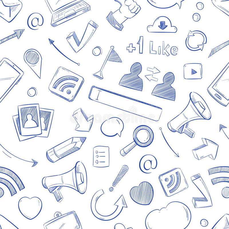 Doodle social media, movie, music, news, video, online marketing, sms vector seamless backdrop. Media social pattern with sketch elements pencil and megaphone stock illustration