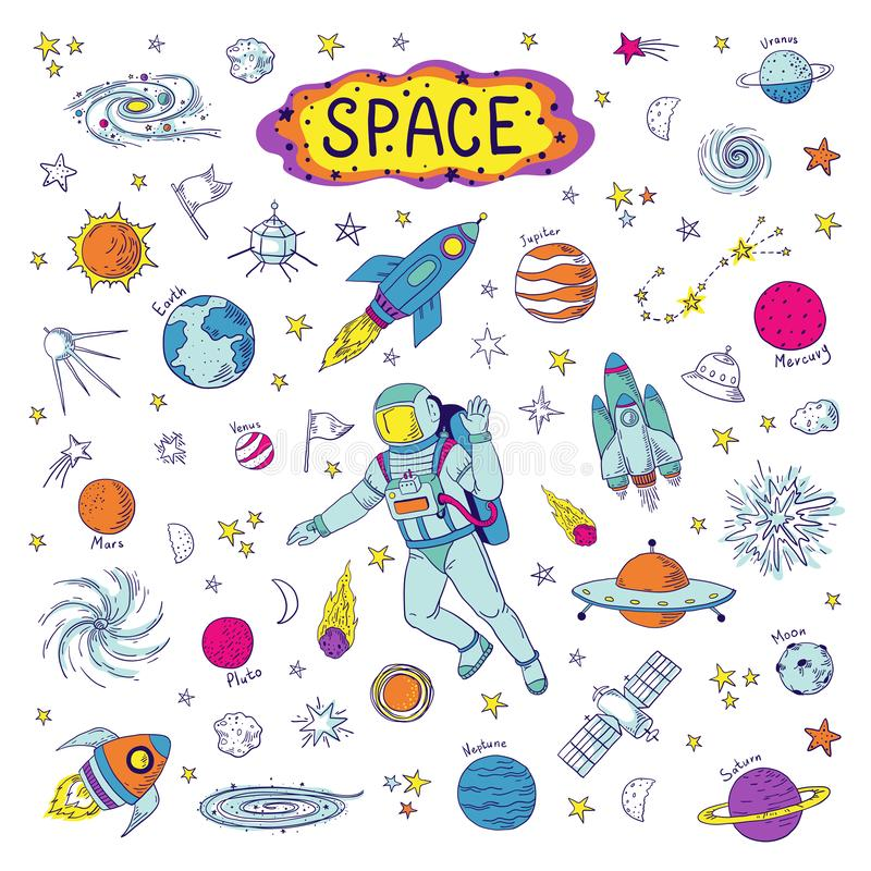 Doodle space. Cosmos trendy kids pattern, hand drawn rocket ufo universe meteor planet graphic elements. Vector royalty free illustration