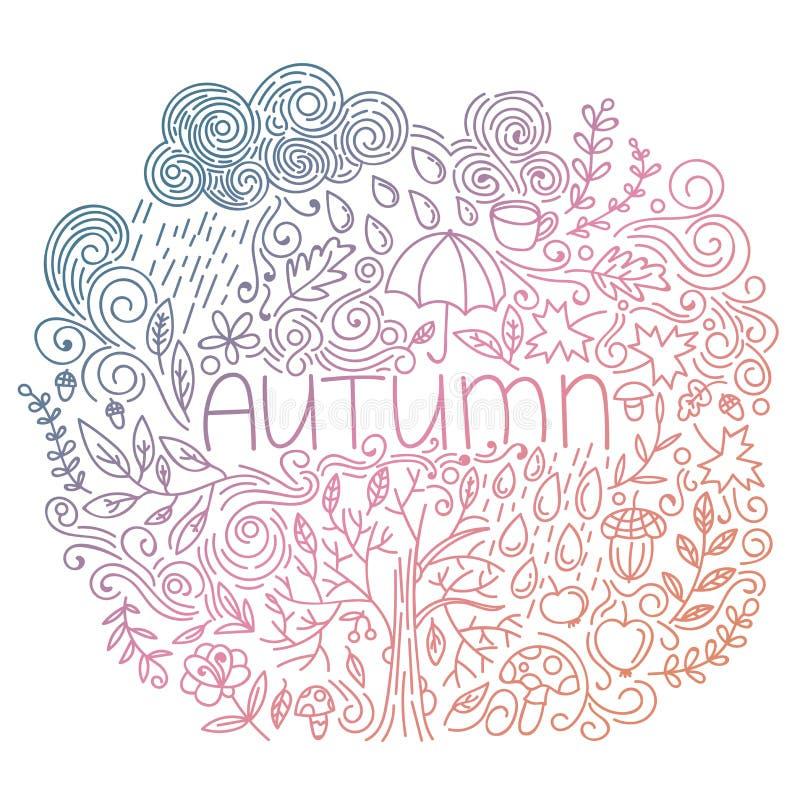 Doodle spadku karta z słowo jesienią, kwiecistymi elementami, podeszczową chmurą i kroplami, drzewny spadek, acorn, parasol, piec ilustracji
