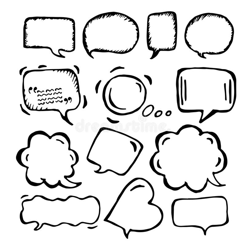 Doodle speech bubbles of different sizes and forms vector illustration