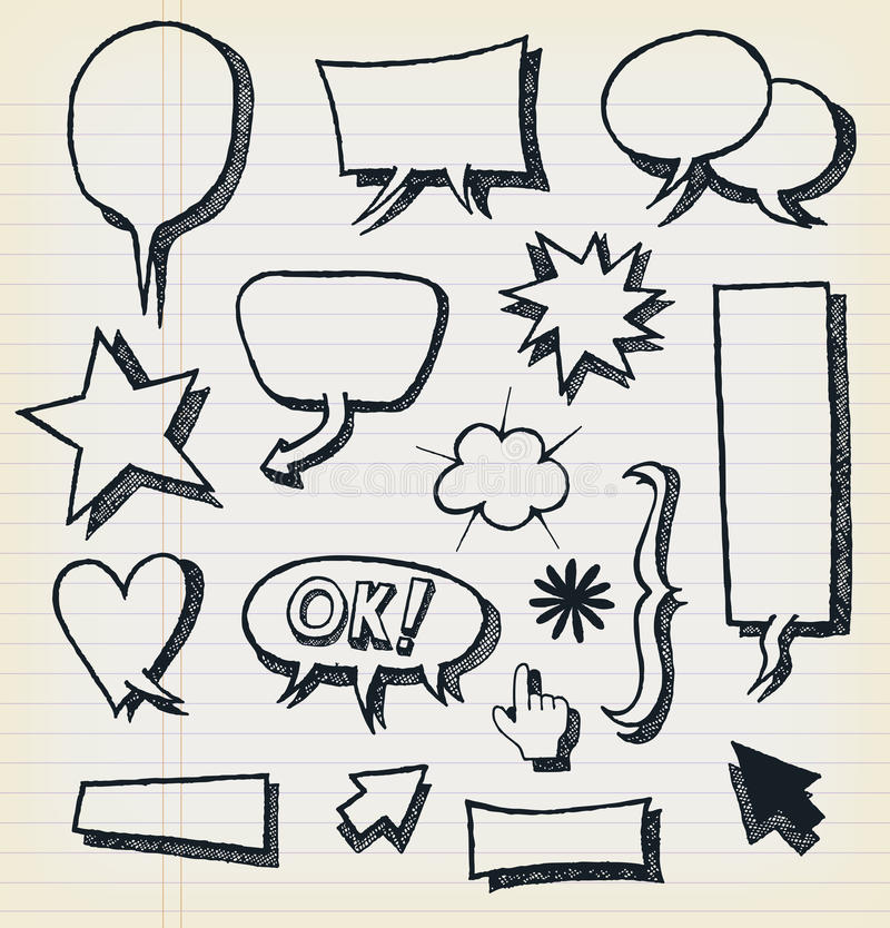 Doodle Speech Bubbles And Elements Set Royalty Free Stock Image