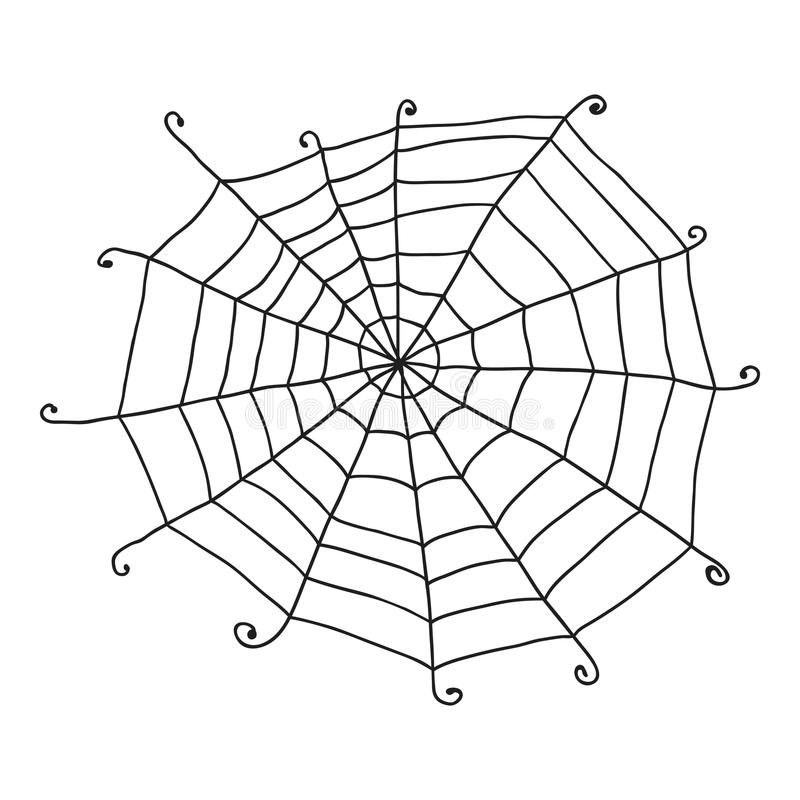 Doodle spiderweb isolated on white background. Vector stock illustration