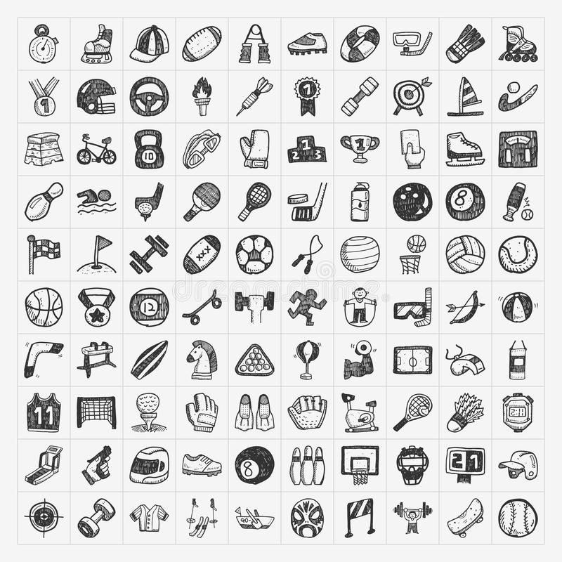 Doodle sport icons royalty free illustration