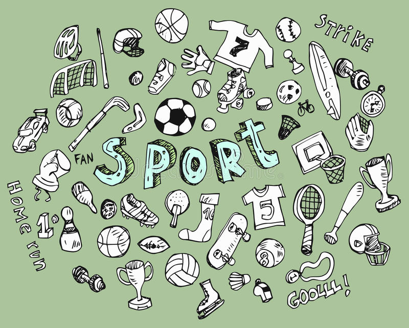 Color Sport Background Football Basketball Hockey Stock: Doodle Sports Stock Vector