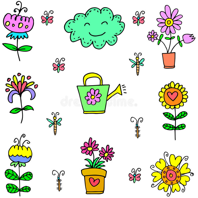 Doodle of spring colorful item. Vector art vector illustration