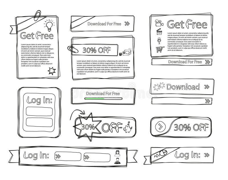 Doodle stabilito di Web impreciso illustrazione di stock