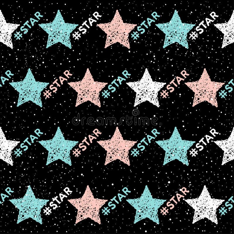 Doodle star seamless background. Abstract childish star pattern stock illustration