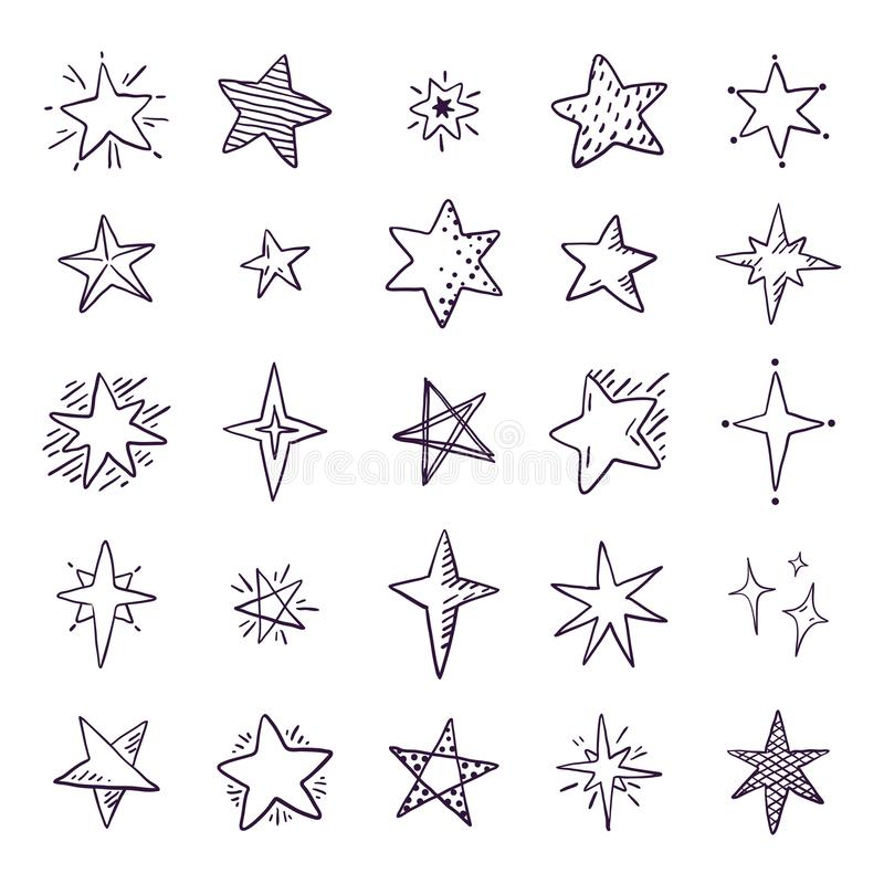 Doodle stars. Cute pen sketch space elements, simple geometric set, hand drawn star pattern for print textile. Vector stock illustration