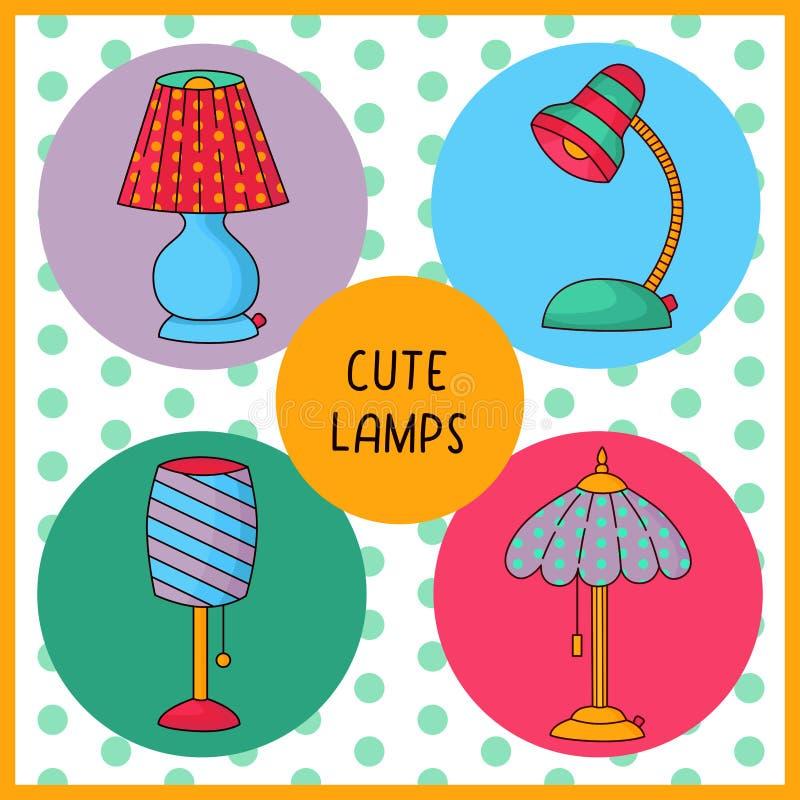 Doodle stołowych lamp wektoru kolorowy set ilustracji