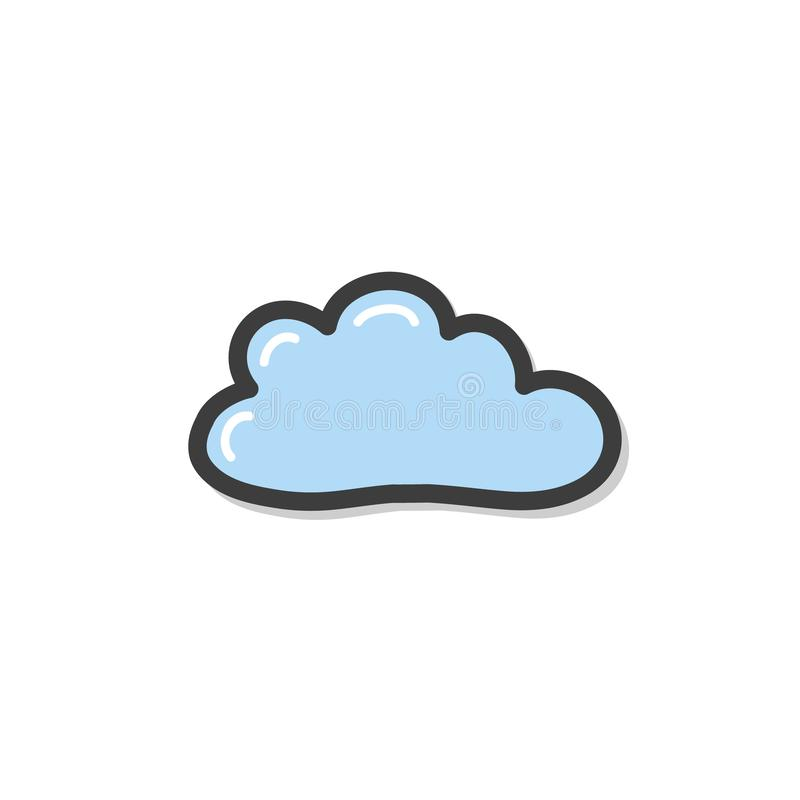 Doodle style blue cloud drawing. Vector drawing by hand. Symbol of the weather. royalty free illustration