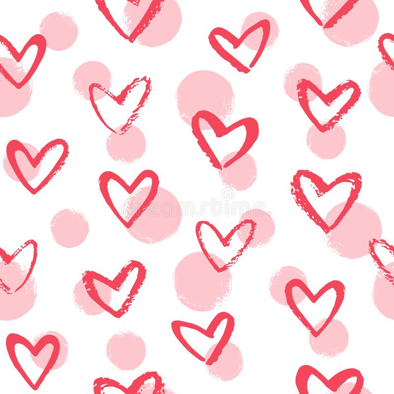 Doodle style brush drawn hearts and dots seamless vector pattern vector illustration