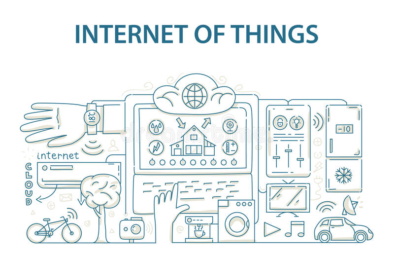 Doodle style design concept of internet of things data technology, network infrastructure of connecting everything. royalty free illustration