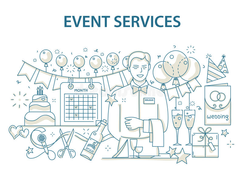 Doodle style design concept of special event and happy birthday party organization, catering service agency stock illustration