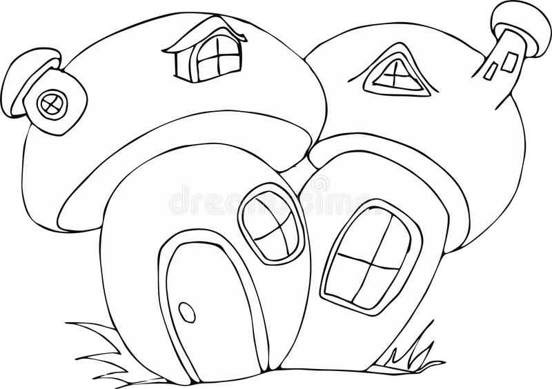 Download Doodle Style Fairy Mushroom House Cartoon Stock Vector