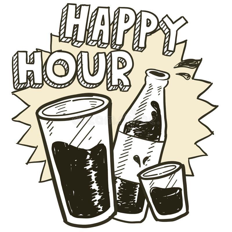 Happy hour alcohol sketch vector illustration