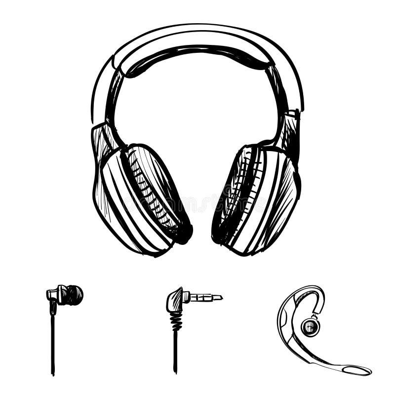 Doodle style headphones vector illustration