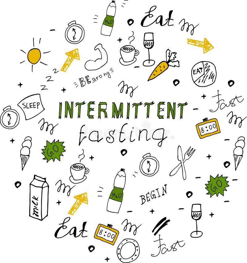 Doodle style intermittent fasting diet lettering. Hand drawn illustration stock illustration