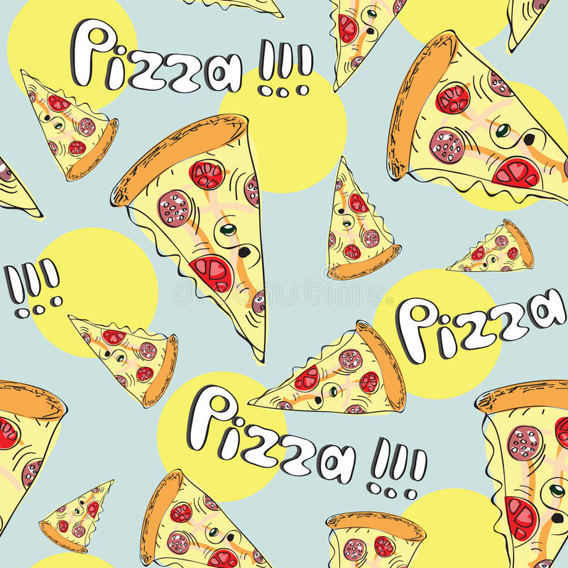 Doodle style pizza seamless vector background stock illustration