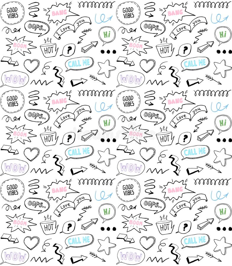 Doodle style seamless pattern with speech bubbles and comic style elements, hand drawn illustration vector illustration