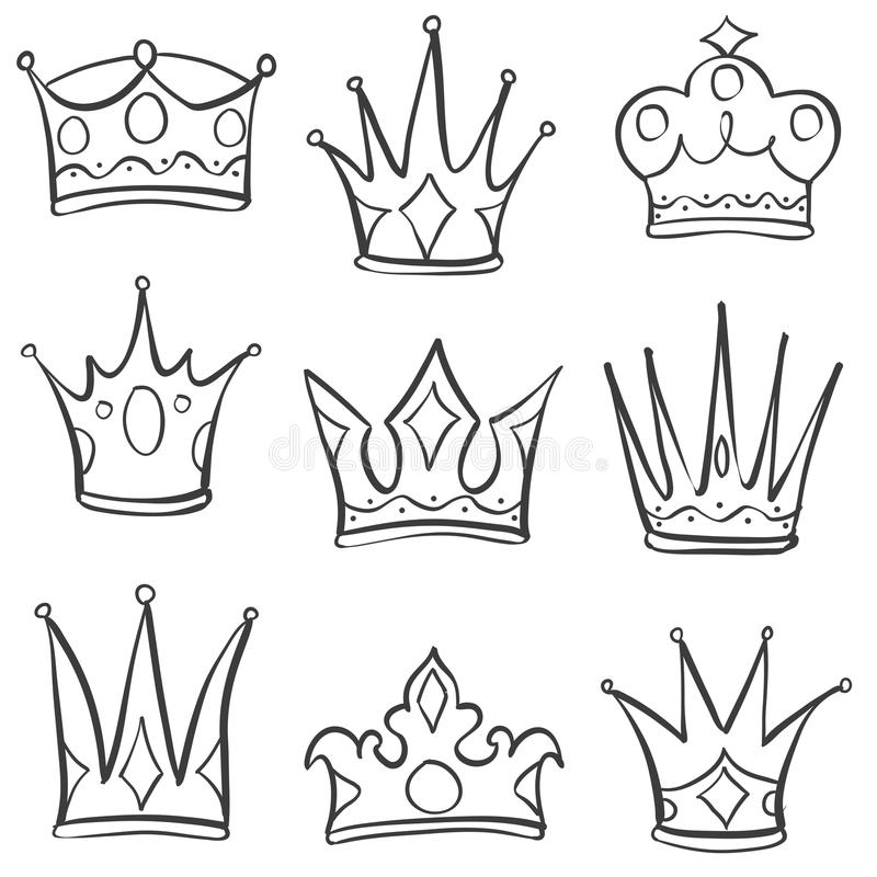 Doodle style set of crown hand draw stock illustration