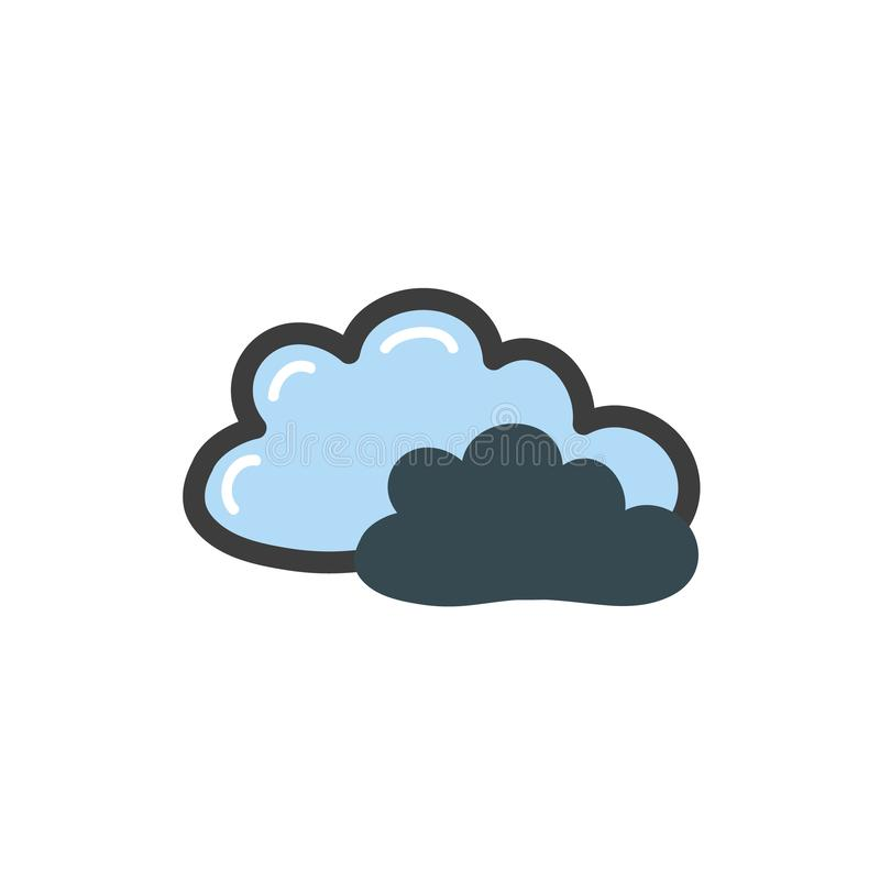 Doodle style two blue cloud drawing. Vector drawing by hand. Symbol of the weather. stock illustration