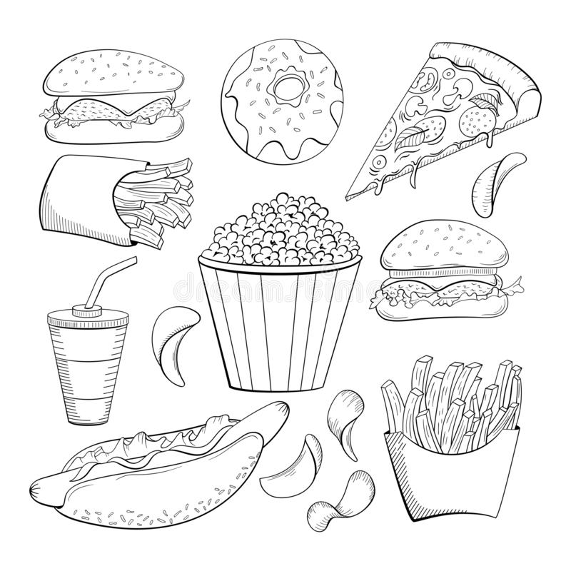 Doodle style various fast foods collection. Food icon set. stock illustration