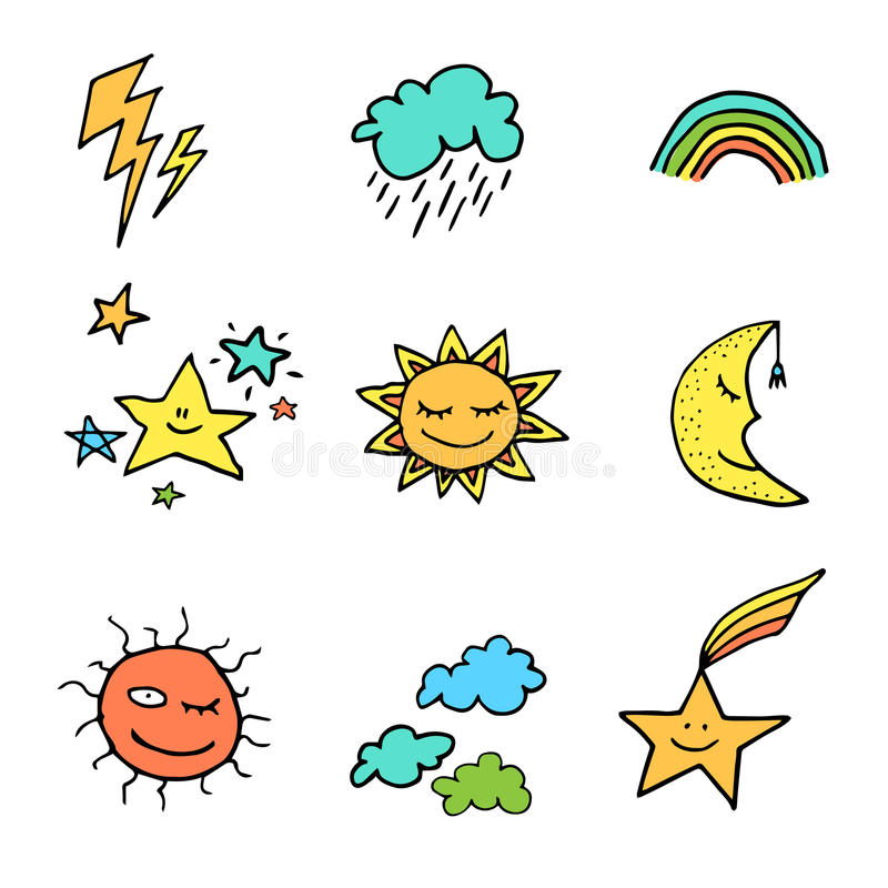 Doodle style weather icons set vector illustration