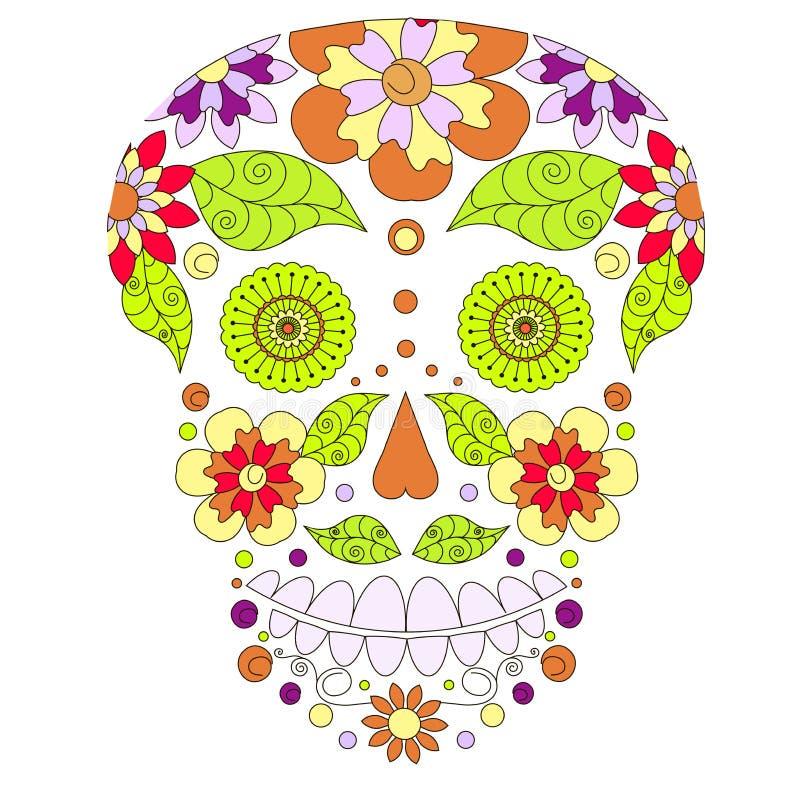 Doodle stylizowaną kolorową czaszkę, wręcza rysunku kwiatu sylwetkę, akcyjna wektorowa ilustracja ilustracji