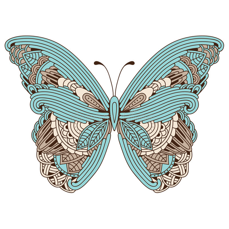 Doodle stylizujący barwiony zen sztuki motyl royalty ilustracja
