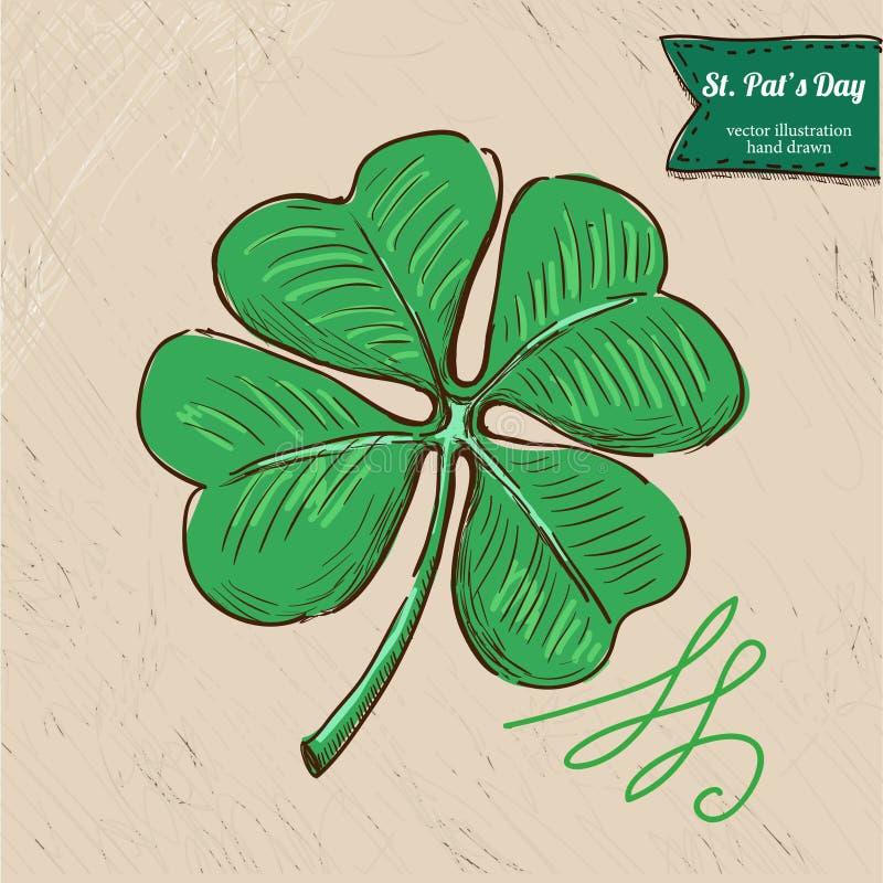 Doodle stylu cztery St Patrick dnia wektoru ilustrację royalty ilustracja