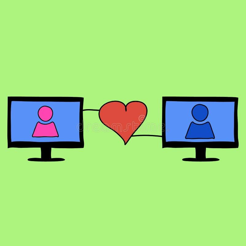 Doodle stylu miłość online royalty ilustracja