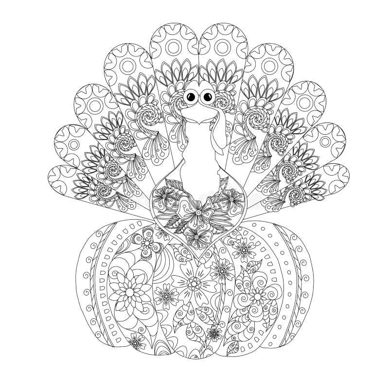 Doodle stylu nakreślenie indyk na bani, cienka czerni linia na bielu ilustracji