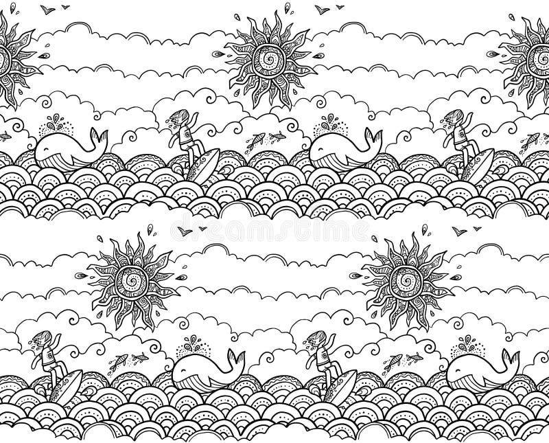 Doodle stylu ręka rysująca surfujący wektorową bezszwową wzór płytkę z surfingowem, ozdobnym słońcem, ryba i śmiesznym wielorybem royalty ilustracja