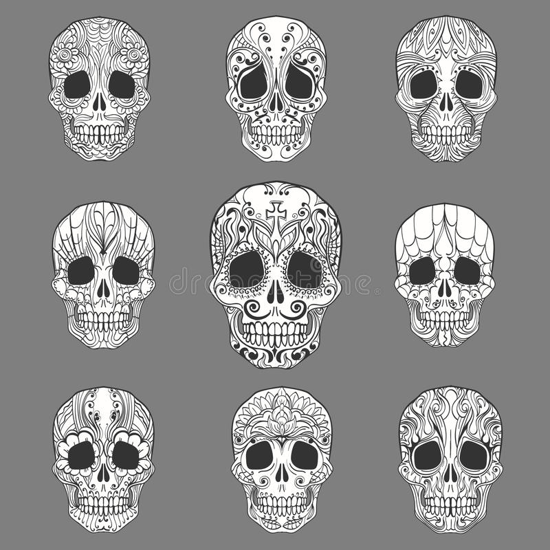 Doodle Sugar Skull Collection. Day of the Dead Doodle Sugar Skulls set. Vector Collection stock illustration