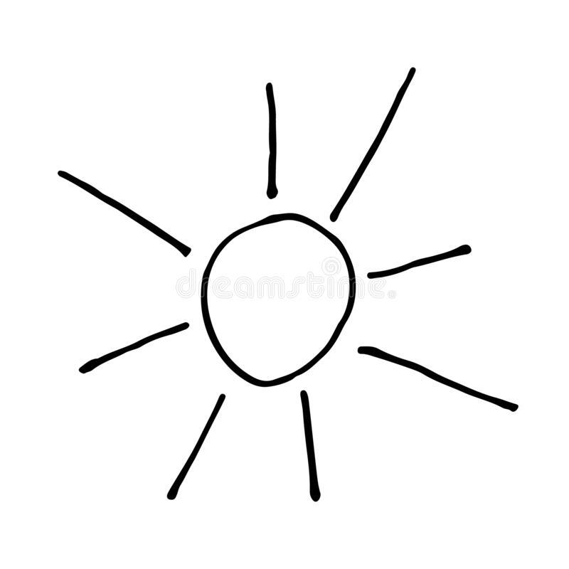 Doodle sun hand drawing icon vector illustration vector illustration