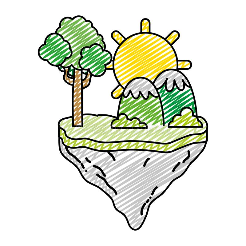 Free Doodle Sun With Tree And Mountains In The Float Island Royalty Free Stock Photography - 142627347