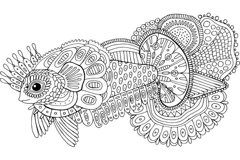 Doodle surreal fish. Cartoon hand drawn ink artwork. Coloring page for adults. Vector illustration.  vector illustration