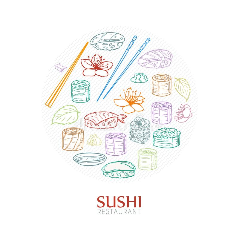 Doodle sushi restaurant and delivery design template. Asian food composition. Vector illustration royalty free illustration