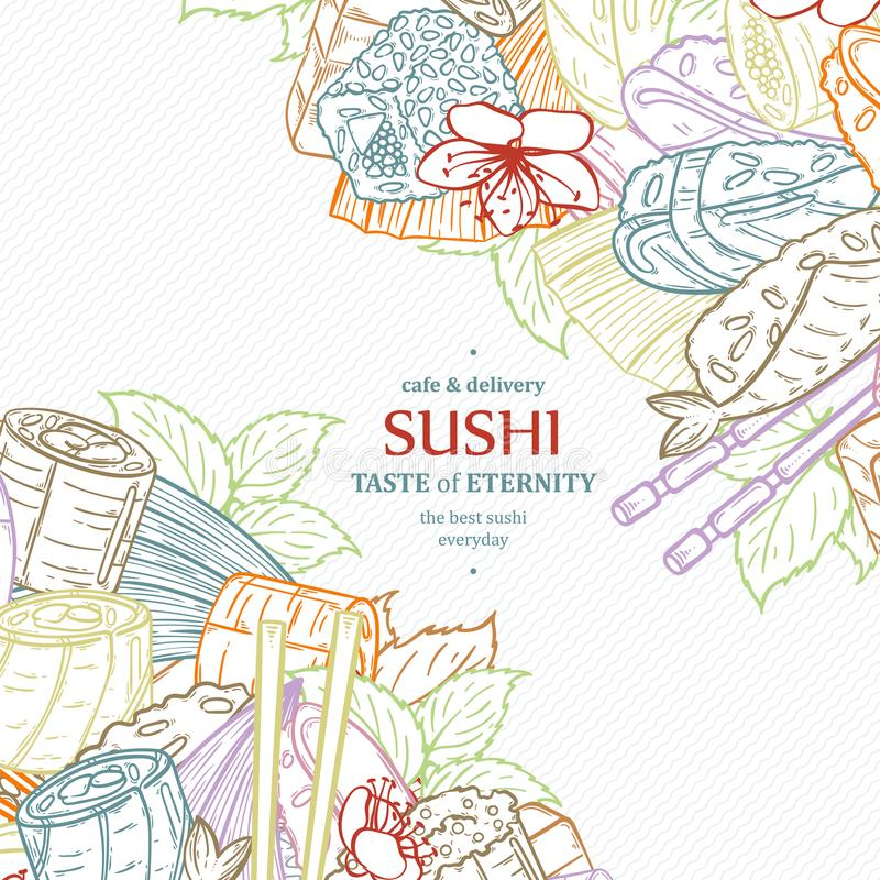 Doodle sushi restaurant menu design template. Engrave asian food frame. Vector illustration royalty free illustration
