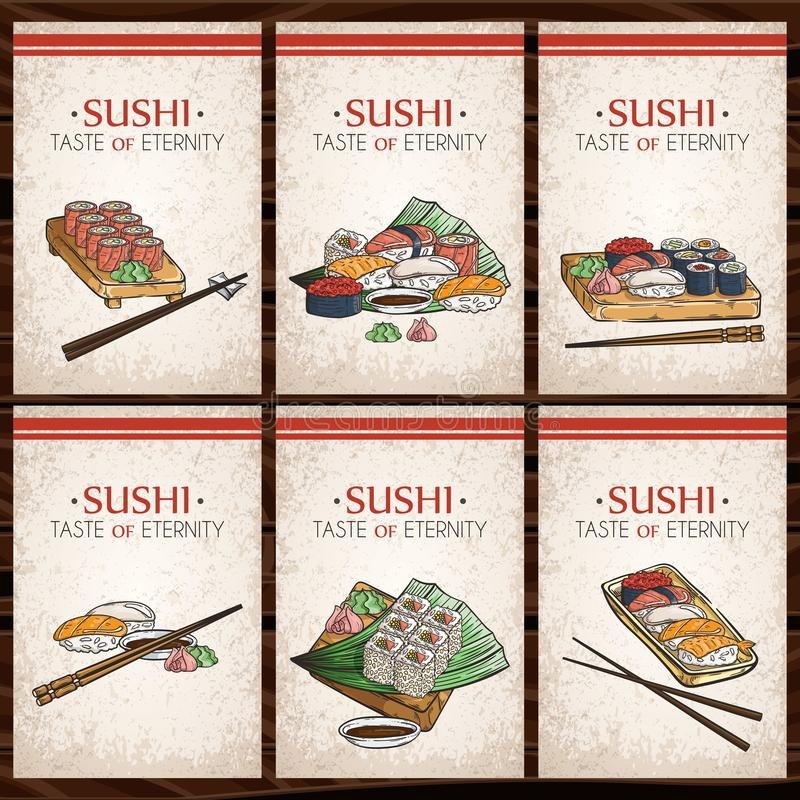 Doodle sushi and rolls on wood. Japanese traditional cuisine dishes illustration. Vector cards collection for asian restaurant menu stock illustration