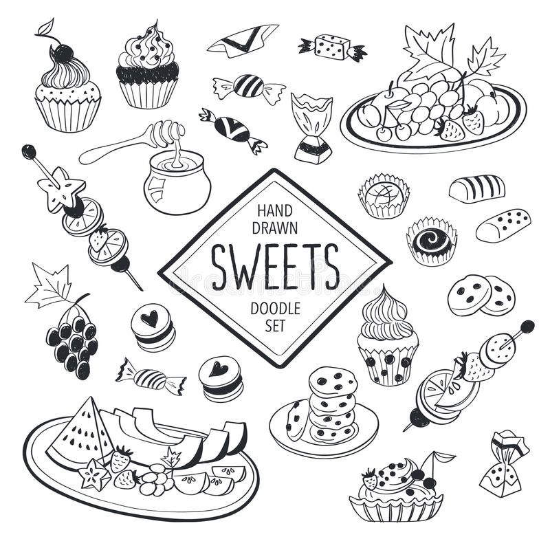 Doodle sweets vector illustration