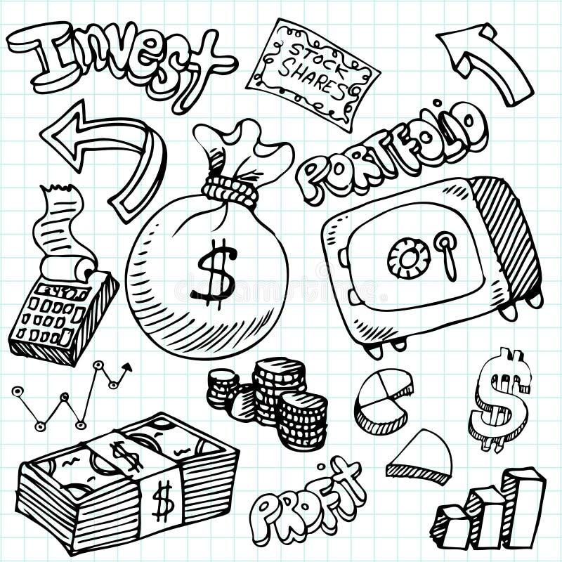 doodle symbol pieniężny ustalony ilustracja wektor