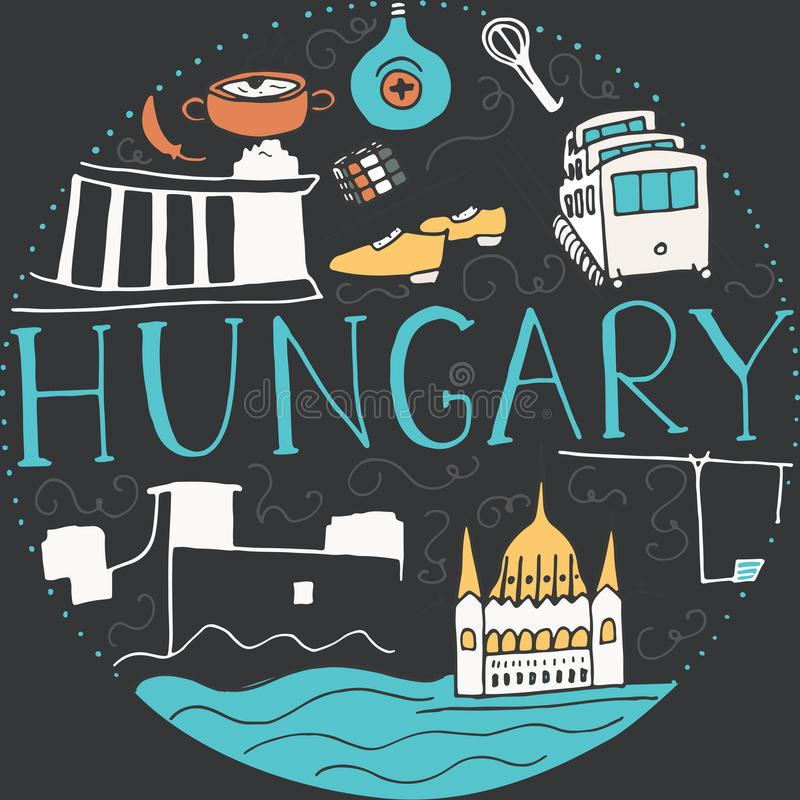 Doodle symbols of Hungary. Vector round illustration vector illustration